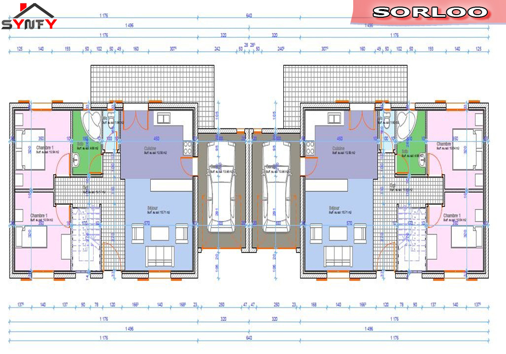 Plan maison jumelee par le garage - Exemple de plan de garage ...